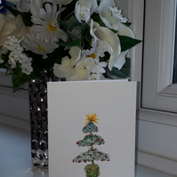 Doodle Christmas Tree, A6 blank Christmas card with white envelope