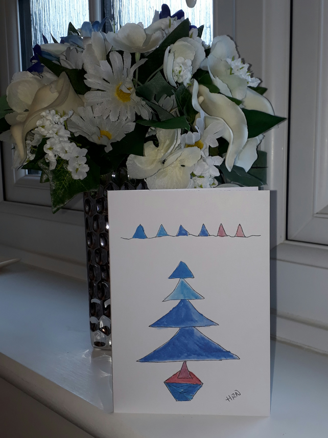 Blue Christmas Tree, A6 blank card with envelope, original design - Folksy