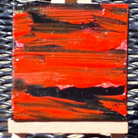 Tiny art, Original abstract seascape in red and black, on small canvas - Folksy