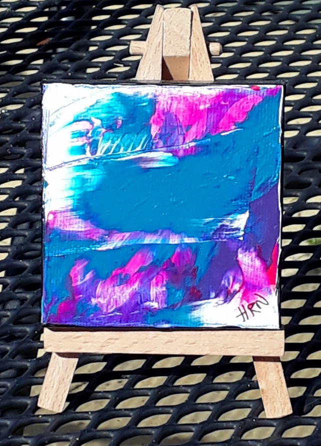 Original acrylic abstract painting on mini canvas tiny art  - Folksy.com