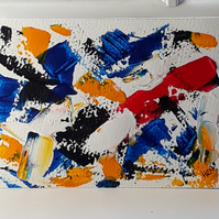 Original acrylic abstract No: 1 on canvas textured paper 5 x 7 inches - Folksy