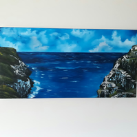 View from Tintagel in Cornwall, Original oil painting on chunky canvas - Folksy