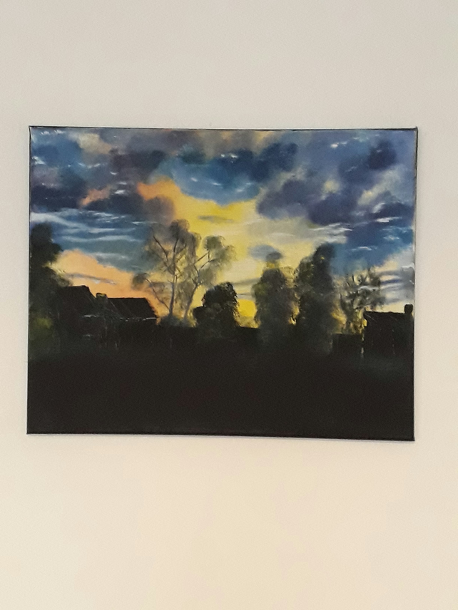 Moody Sunset over the Farm, Original oil painting on canvas - Folksy