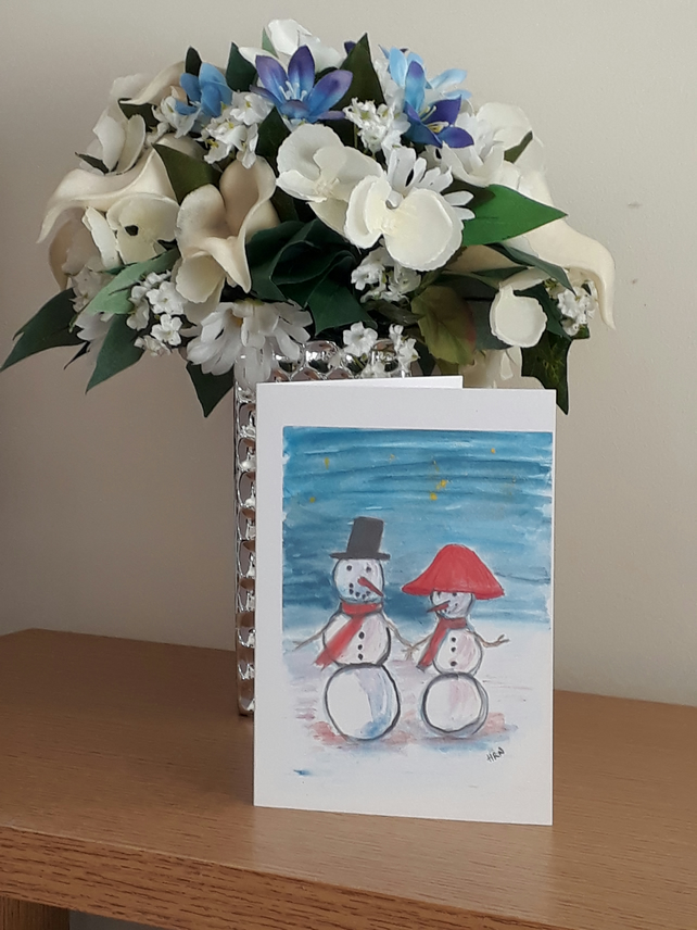 Mr and Mrs Snowman Christmas Card, printed from original artwork - Folksy
