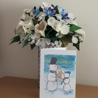 Snowman giving Christmas present, Christmas card from original design - Folksy