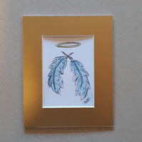 Angel Wings, Feathers, ACEO, signed,Pen and Ink - Folksy.com