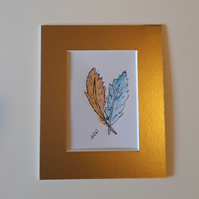 Two Feathers, ACEO, Original Design, signed, pen and Ink - Folksy.com