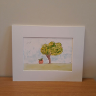 Apple Tree, mounted  print taken from original pen and ink painting