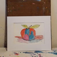 Abstract Apple, pen and ink drawing painting in mount ready to frame - Folksy