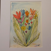 Abstract flowers, Original pen ink and watercolour drawing painting with mount