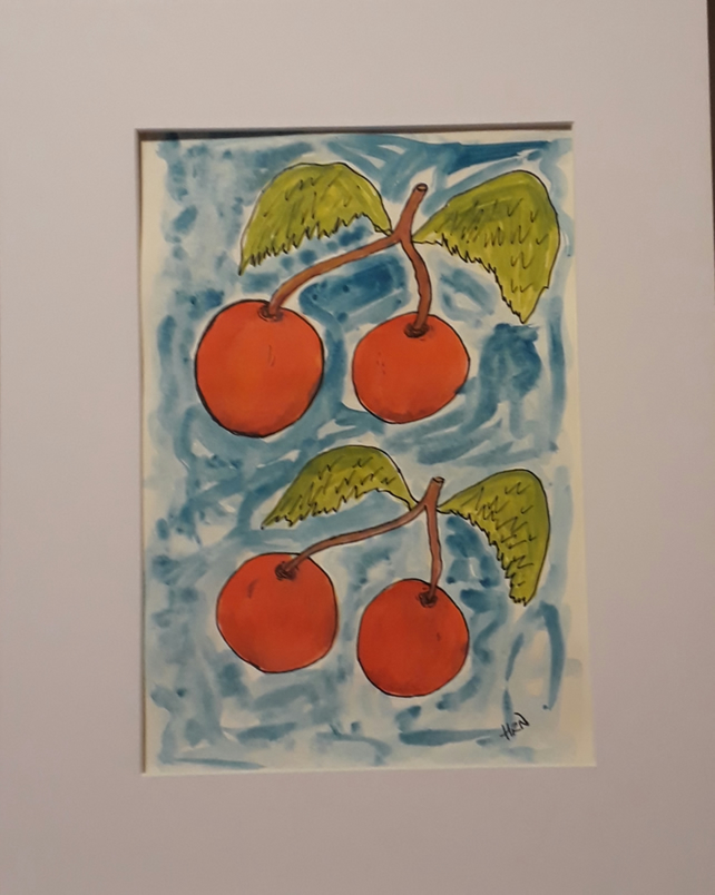Crazy Cherries, Pen & Ink abstract with white mount ready to frame - Folksy