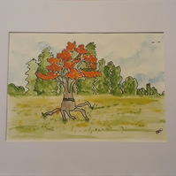 Original pen & Ink abstract, 'My Red Tree' with white mount - Folksy