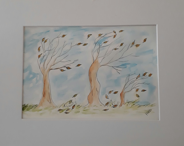 A Blustery Day, original pen & watercolour illustration with mount - Folksy