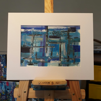 Brighton West Pier original acrylic abstract in white mount