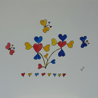 Butterflies, Hearts and Flowers, Original Pen and Watercolour Drawing - Folksy