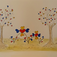 Trees, Hearts and Flowers, Original Pen and Watercolour Drawing - Folksy