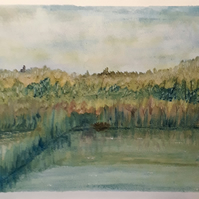Quiet River, original watercolour painting, size A3, reeds, rushes, peaceful