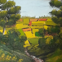 A View of the fields, Original Oil on canvas board, woodland, farmland - Folksy