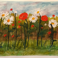 Daisies and Poppies, original watercolour painting on watercolour paper