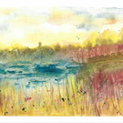 Secluded wild wetland, original watercolour painting on watercolour paper