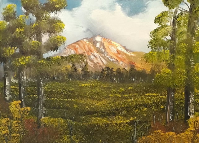 View of the Mountain, Original oil  landscape painting on canvas - Folksy