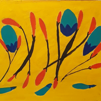 Original acrylic abstract painting on board, Blue Flowers with yellow background