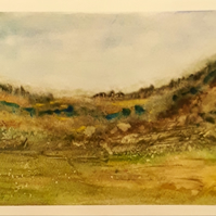 Original watercolour painting, Moorland on A4 Hot pressed paper