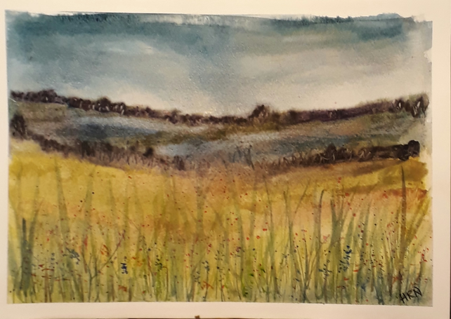 Moody Moor, Original watercolour painting on A4 watercolour paper