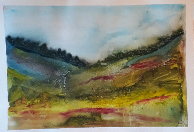 Abstract, impressionist Landscape, Original watercolour on paper - Folksy