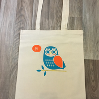 Attractive owl print cotton tote bag , book bag , shopping bag