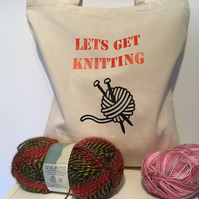Let's get Knitting tote bag , cotton tote bag