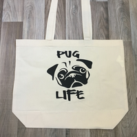 Pug Life printed cotton Maxi tote bag
