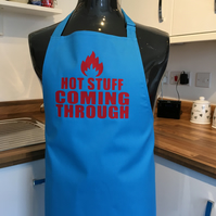 Blue Hot stuff coming through with red  print BBQ apron