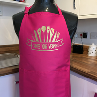 Pink apron with gold choose your weapon   print kitchen  apron