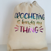 Crochet  sack for crochet on the move with multi colour glitter print
