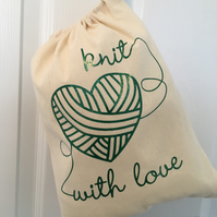 """Knit with love"" drawstring sack"