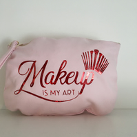 Pink Make up is my art  red sparkle print large 100% cotton  cosmetics bag