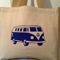 blue camper van print Jute and cotton tote bag with double bottle holder