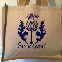 Blue Scotland thistle print Jute and cotton tote bag with double bottle holder