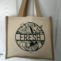 Fresh , fruit and veg  print Jute and cotton tote bag with double bottle holder