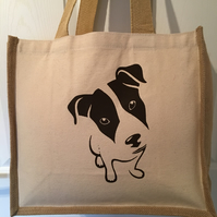 Jack Russell dog print Jute and cotton tote bag with double bottle holder