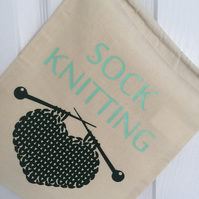 Sock Knitting Drawstring Sack