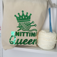 Knitting Queen Drawstring Sack