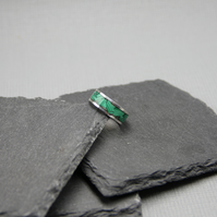 Malachite inlay ring, band ring, silver men ring