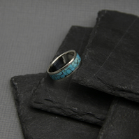 Sterling silver band ring, turquoise inlay ring, men ring