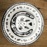 Hand Decorated Plate Good Luck Design