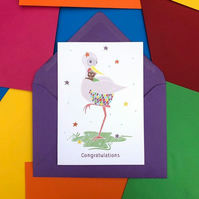 Congratulations Stork and Baby Card