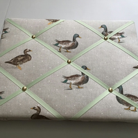 French Memo board made from beautiful Mallard fabric