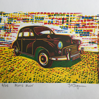Limited edition handmade Linocut Print. Morris Minor with Green Shadow.
