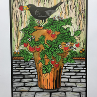 FREE UK POSTAGE.Limited edition handmade Linocut Print. Impossible to Resist